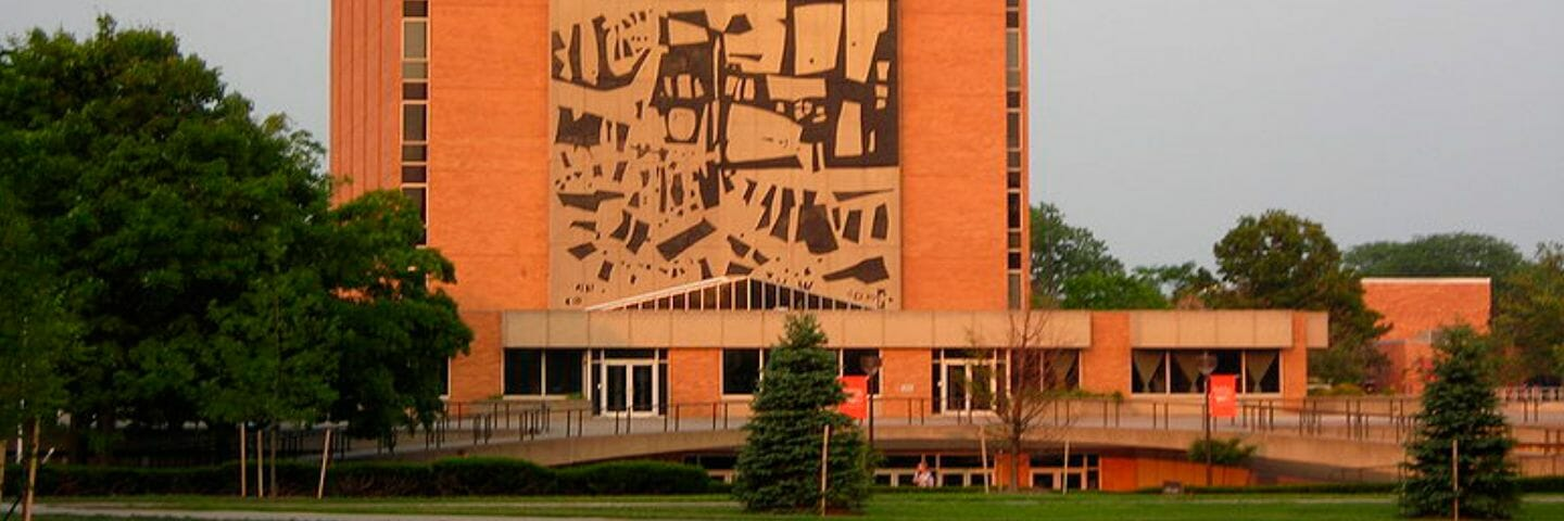 jerome library at bowling green state university at sunset